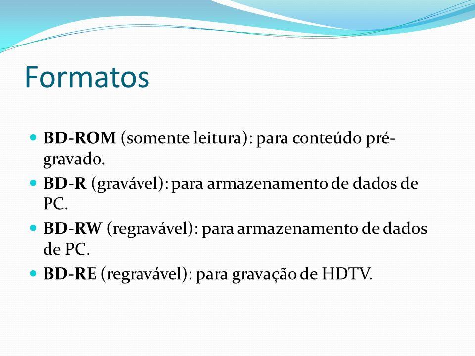 Formatos BD-ROM (somente leitura): para conteúdo pré- gravado. BD-R (gravável): para armazenamento de dados de PC. BD-RW (regravável): para armazename