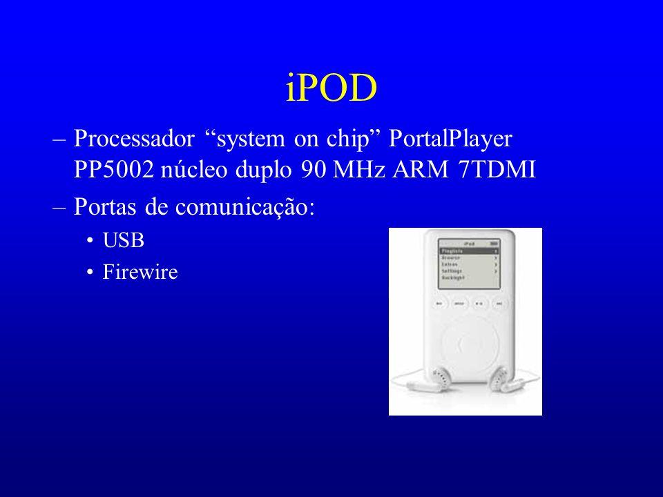 iPOD –Processador system on chip PortalPlayer PP5002 núcleo duplo 90 MHz ARM 7TDMI –Portas de comunicação: USB Firewire