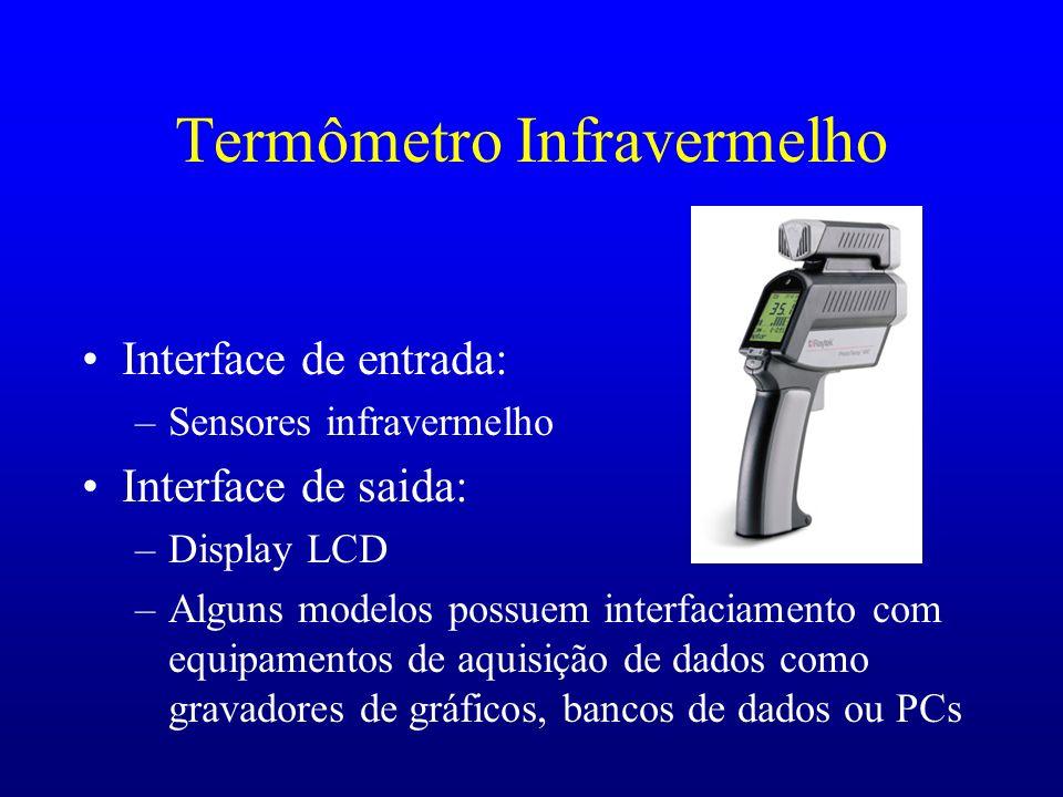 Termômetro Infravermelho Interface de entrada: –Sensores infravermelho Interface de saida: –Display LCD –Alguns modelos possuem interfaciamento com eq
