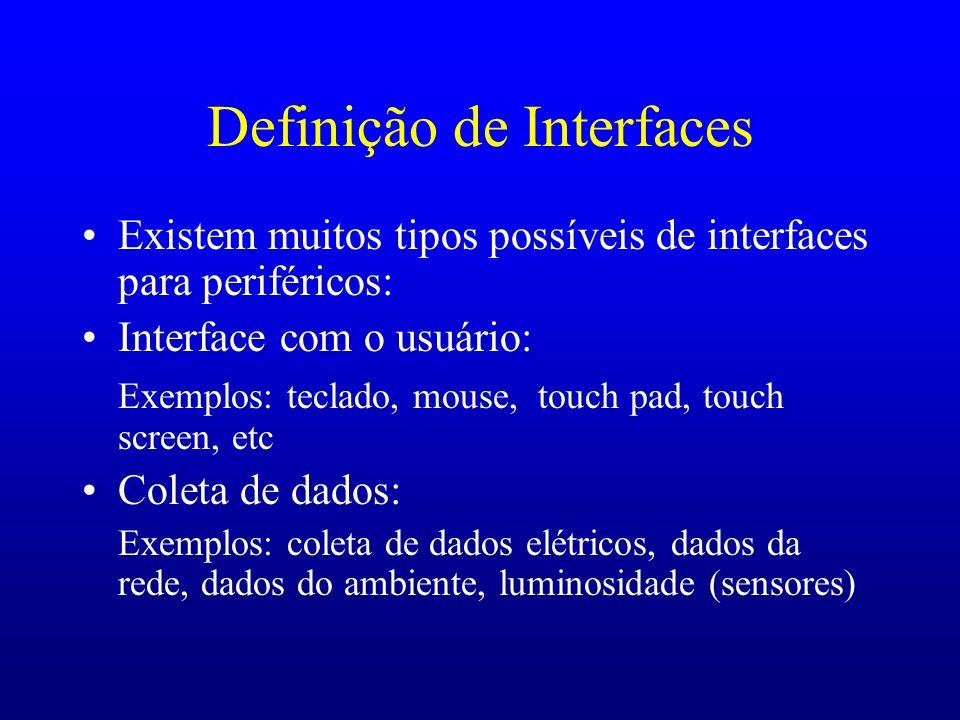 Definição de Interfaces Existem muitos tipos possíveis de interfaces para periféricos: Interface com o usuário: Exemplos: teclado, mouse, touch pad, t
