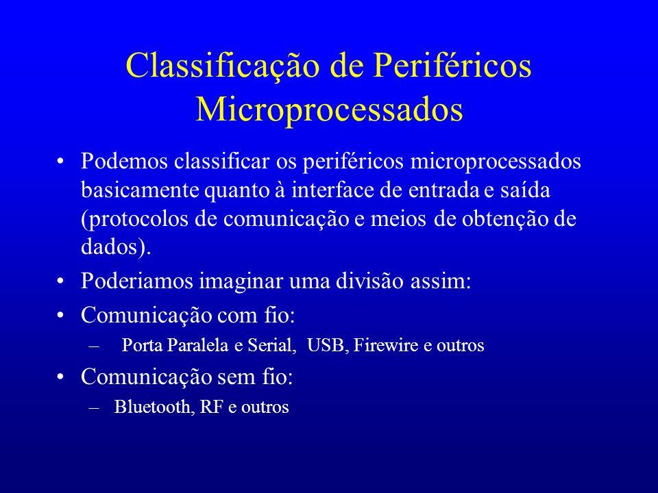 Classificação de Periféricos Microprocessados Podemos classificar os periféricos microprocessados basicamente quanto à interface de entrada e saída (p
