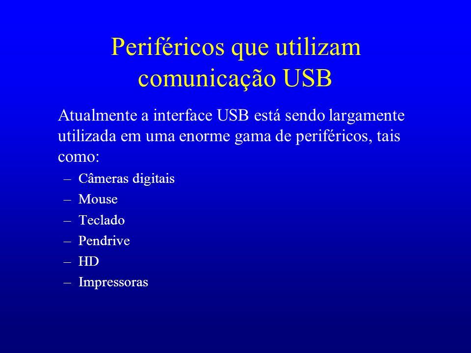 Periféricos que utilizam comunicação USB Atualmente a interface USB está sendo largamente utilizada em uma enorme gama de periféricos, tais como: –Câm