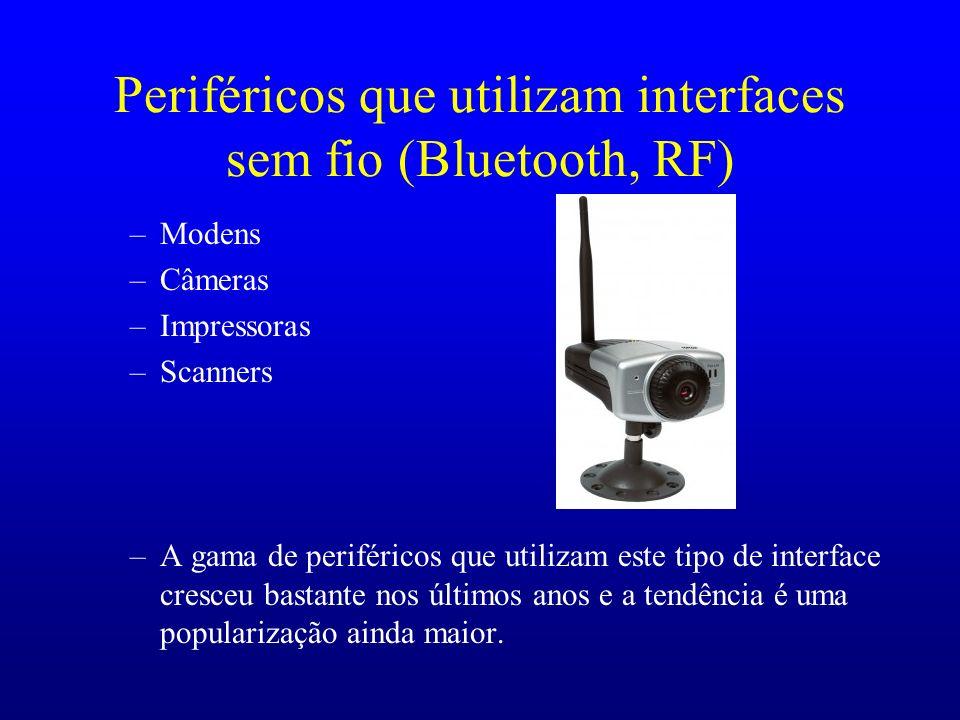Periféricos que utilizam interfaces sem fio (Bluetooth, RF) –Modens –Câmeras –Impressoras –Scanners –A gama de periféricos que utilizam este tipo de i