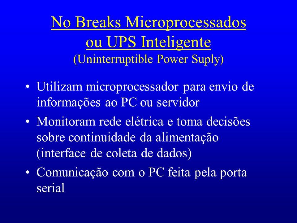 No Breaks Microprocessados ou UPS Inteligente (Uninterruptible Power Suply) Utilizam microprocessador para envio de informações ao PC ou servidor Moni