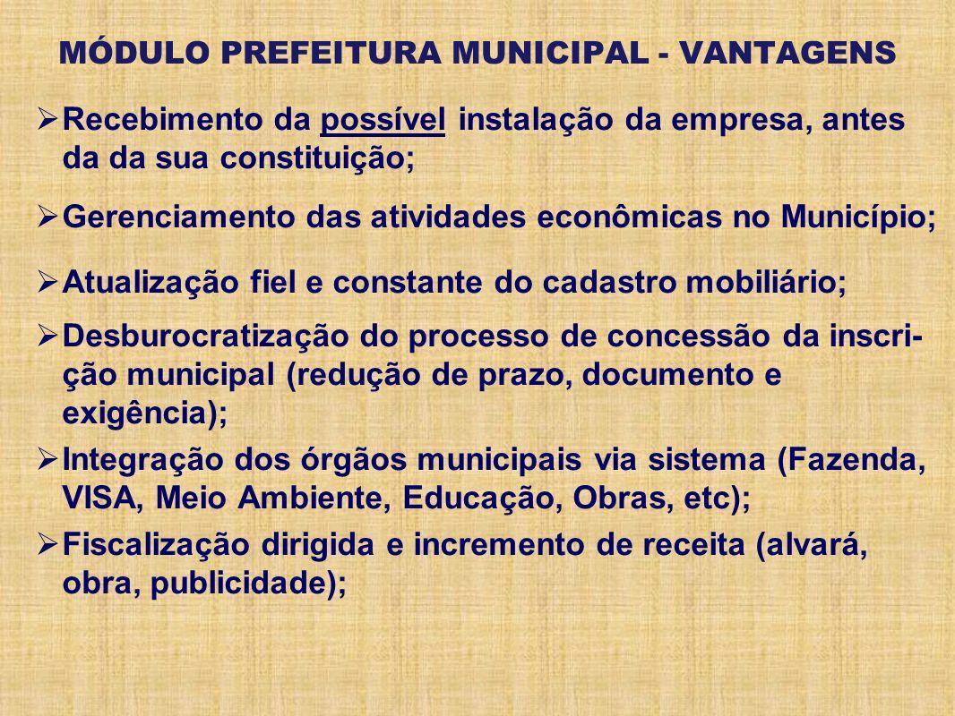 MÓDULO PREFEITURA MUNICIPAL - VANTAGENS Recebimento da possível instalação da empresa, antes da da sua constituição; Gerenciamento das atividades econ