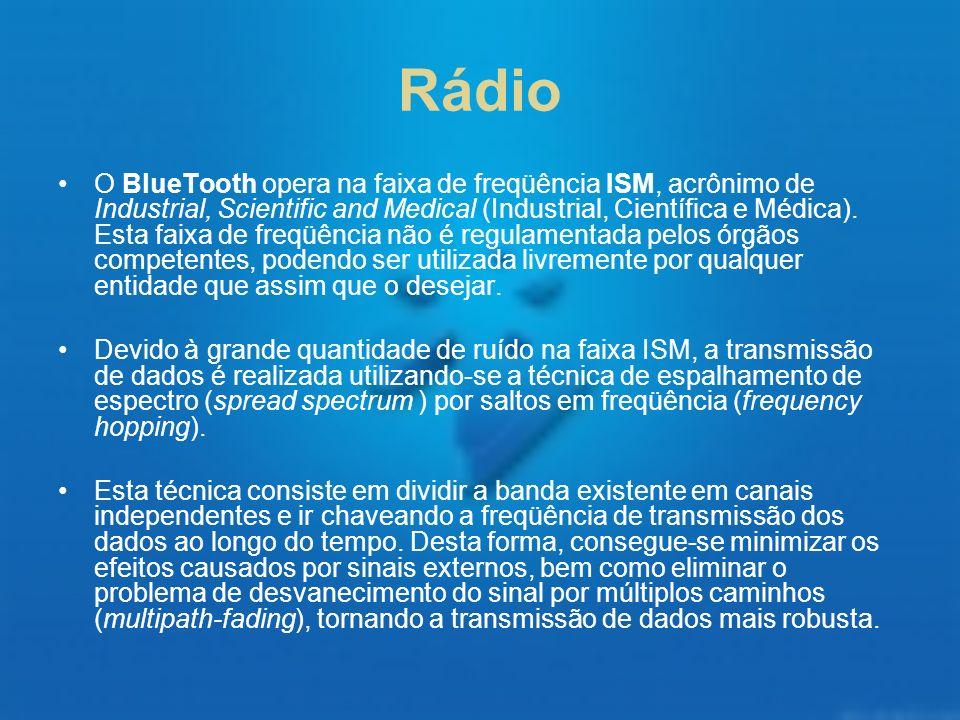 Rádio O BlueTooth opera na faixa de freqüência ISM, acrônimo de Industrial, Scientific and Medical (Industrial, Científica e Médica). Esta faixa de fr