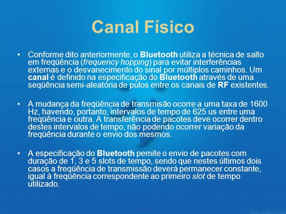 Canal Físico Conforme dito anteriormente, o Bluetooth utiliza a técnica de salto em freqüência (frequency hopping) para evitar interferências externas