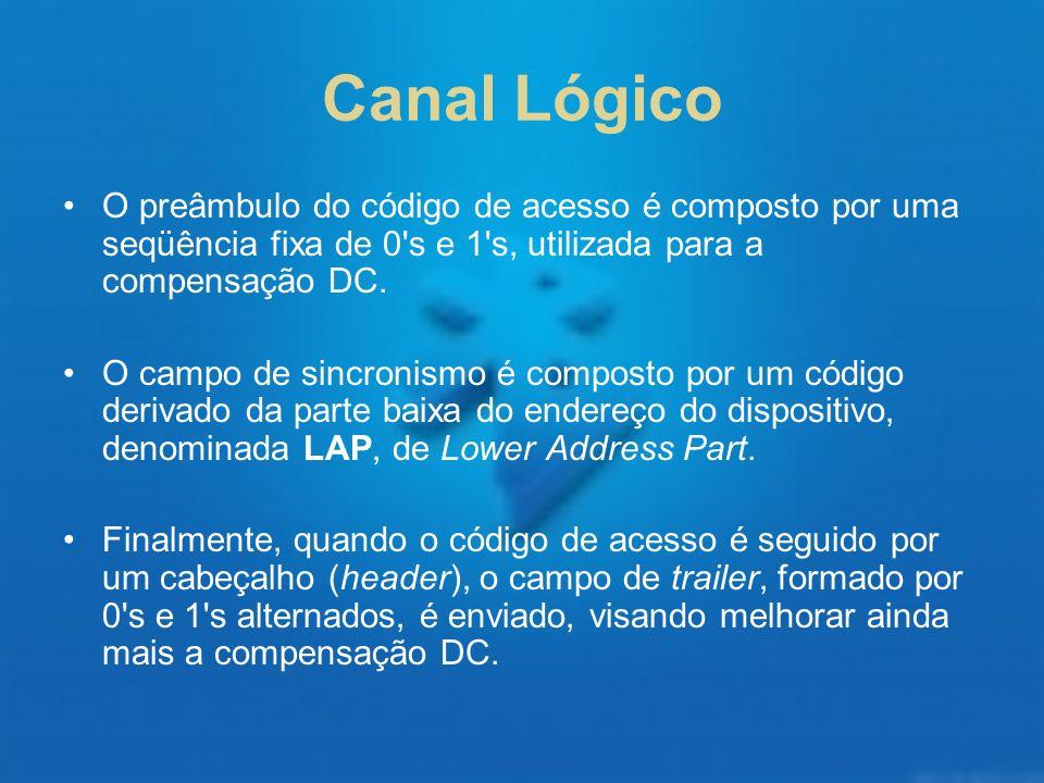 Canal Lógico O preâmbulo do código de acesso é composto por uma seqüência fixa de 0's e 1's, utilizada para a compensação DC. O campo de sincronismo é