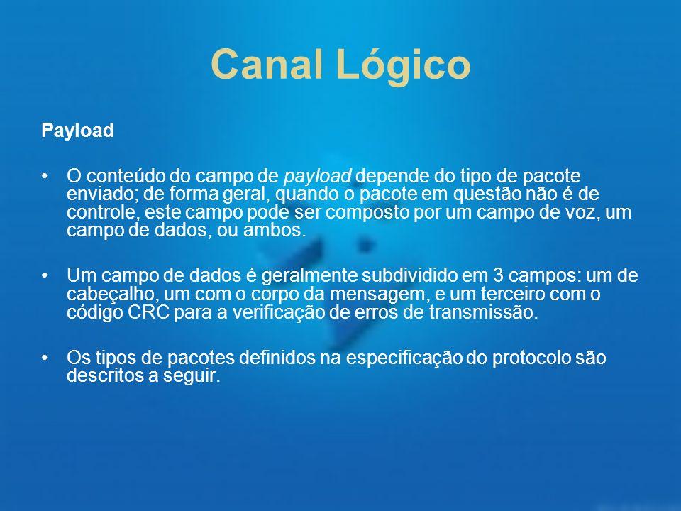 Canal Lógico Payload O conteúdo do campo de payload depende do tipo de pacote enviado; de forma geral, quando o pacote em questão não é de controle, e