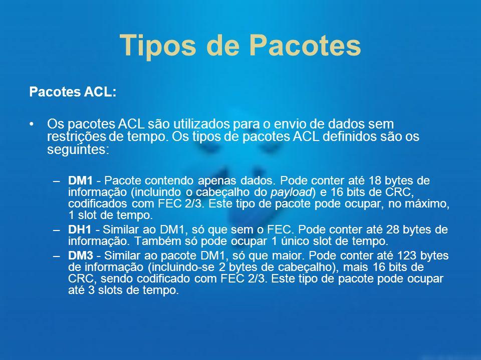 Tipos de Pacotes Pacotes ACL: Os pacotes ACL são utilizados para o envio de dados sem restrições de tempo. Os tipos de pacotes ACL definidos são os se