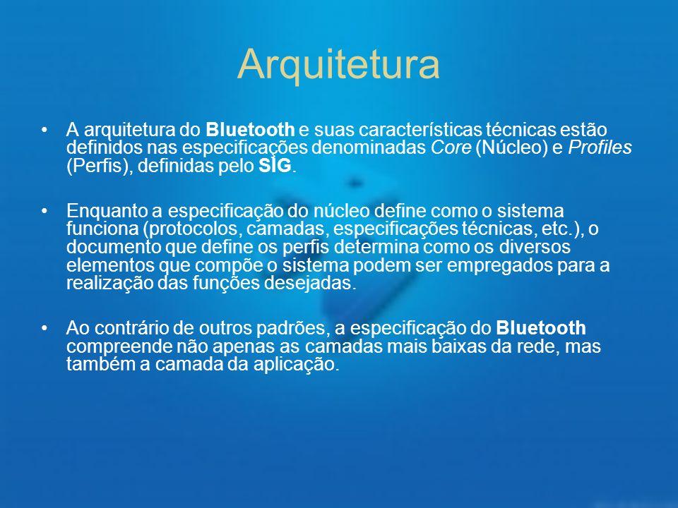 Arquitetura A arquitetura do Bluetooth e suas características técnicas estão definidos nas especificações denominadas Core (Núcleo) e Profiles (Perfis