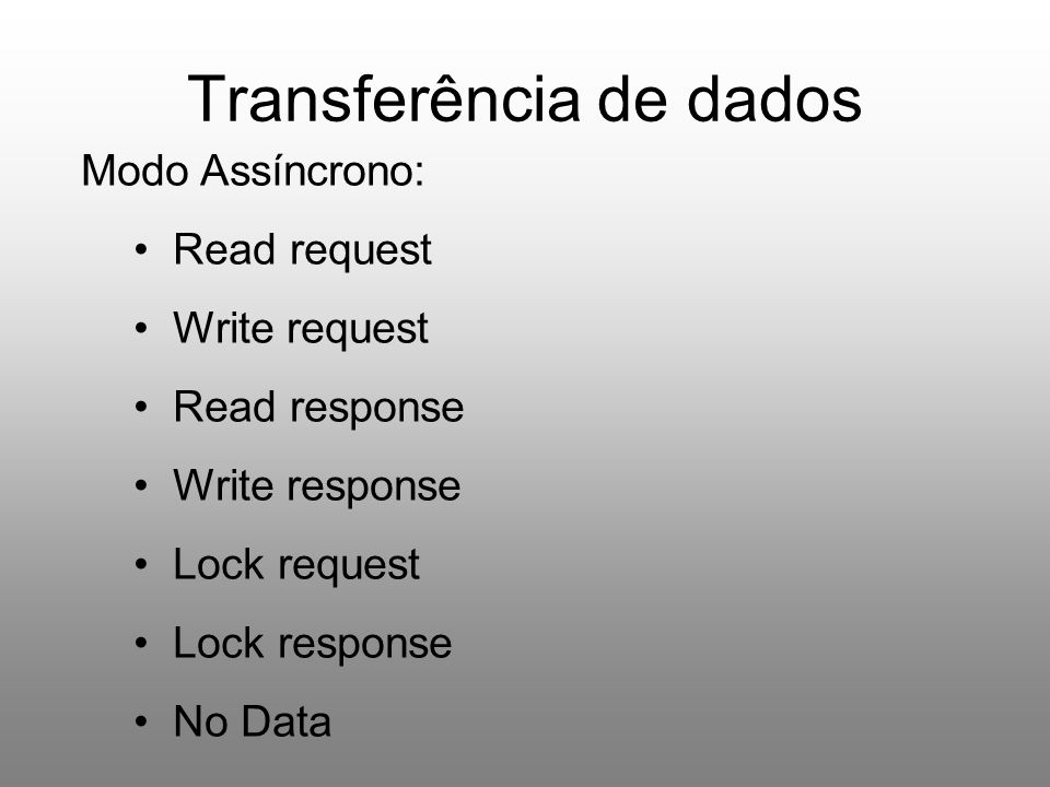 Transferência de dados Modo Assíncrono: Read request Write request Read response Write response Lock request Lock response No Data