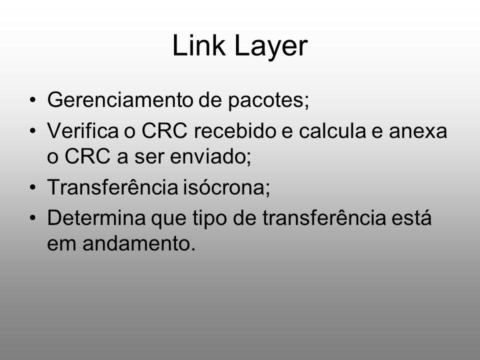 Link Layer Gerenciamento de pacotes; Verifica o CRC recebido e calcula e anexa o CRC a ser enviado; Transferência isócrona; Determina que tipo de tran