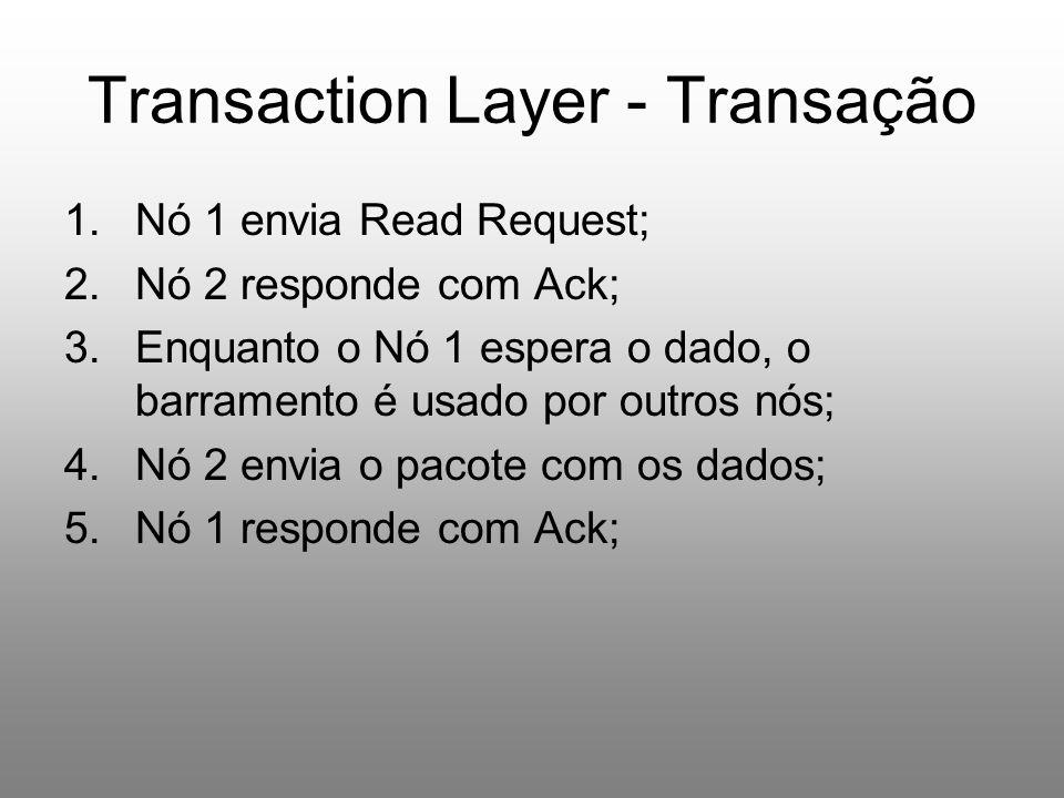 Transaction Layer - Transação 1.Nó 1 envia Read Request; 2.Nó 2 responde com Ack; 3.Enquanto o Nó 1 espera o dado, o barramento é usado por outros nós