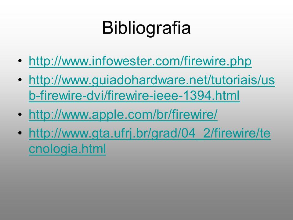 Bibliografia http://www.infowester.com/firewire.php http://www.guiadohardware.net/tutoriais/us b-firewire-dvi/firewire-ieee-1394.htmlhttp://www.guiado
