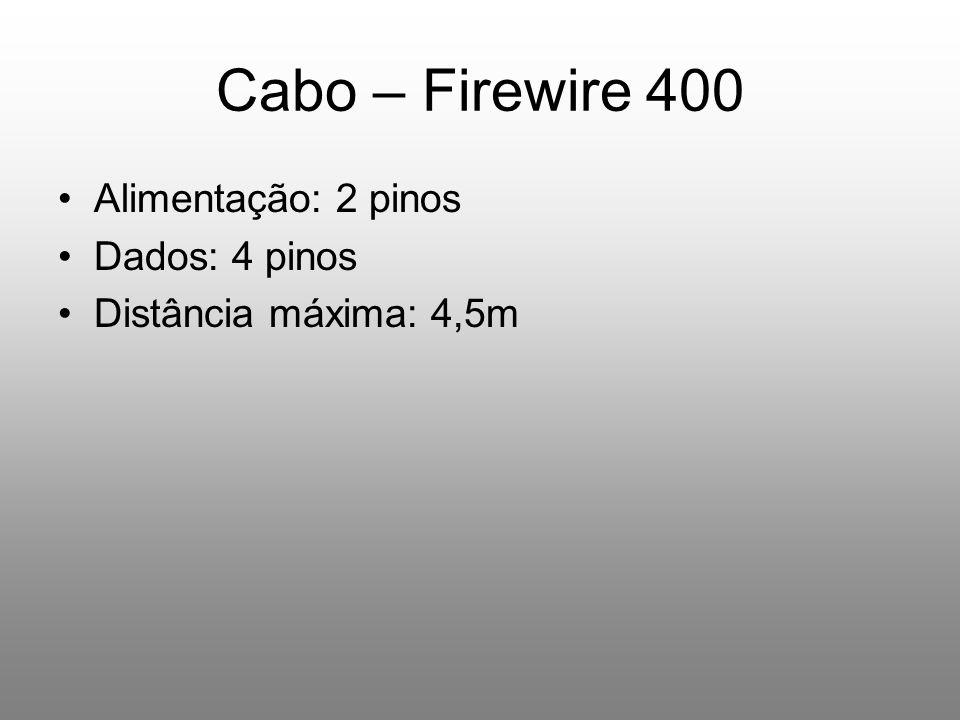 Cabo – Firewire 400 Alimentação: 2 pinos Dados: 4 pinos Distância máxima: 4,5m