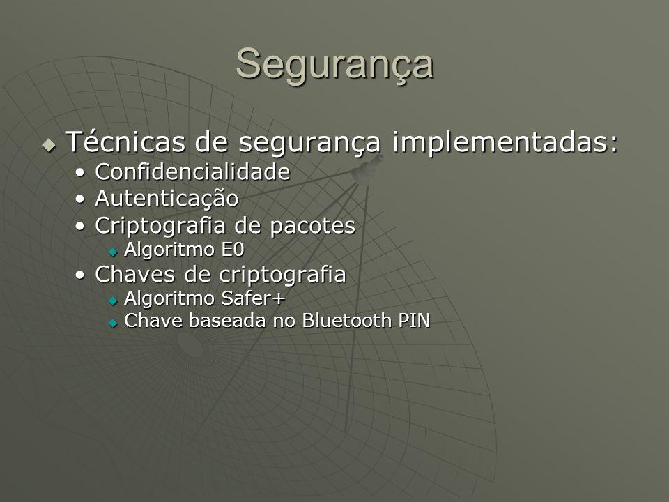 Segurança Técnicas de segurança implementadas: Técnicas de segurança implementadas: ConfidencialidadeConfidencialidade AutenticaçãoAutenticação Cripto