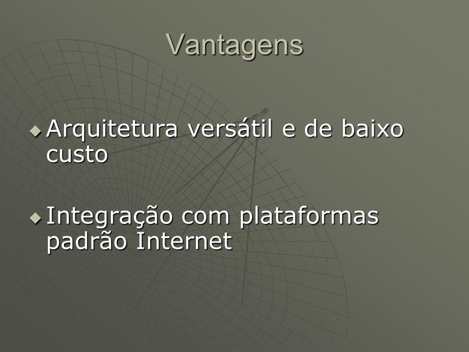 Vantagens Arquitetura versátil e de baixo custo Arquitetura versátil e de baixo custo Integração com plataformas padrão Internet Integração com plataf