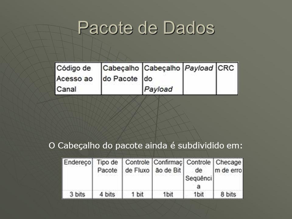 Pacote de Dados O Cabeçalho do pacote ainda é subdividido em: