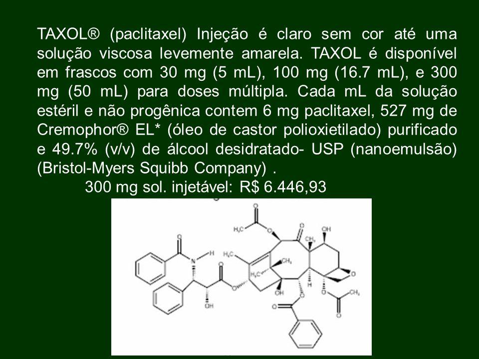 TAXOL® (paclitaxel) Injeção é claro sem cor até uma solução viscosa levemente amarela. TAXOL é disponível em frascos com 30 mg (5 mL), 100 mg (16.7 mL