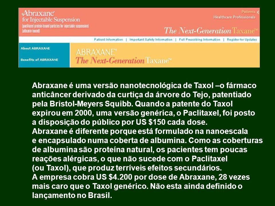 Abraxane é uma versão nanotecnológica de Taxol –o fármaco anticâncer derivado da curtiça da árvore do Tejo, patentiado pela Bristol-Meyers Squibb. Qua