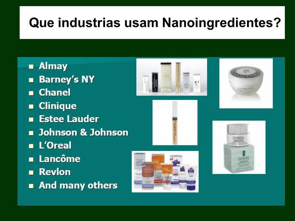 Que industrias usam Nanoingredientes?
