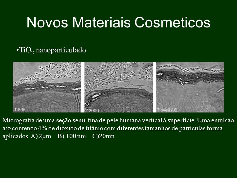 Novos Materiais Cosmeticos Micrografia de uma seção semi-fina de pele humana vertical à superfície. Uma emulsão a/o contendo 4% de dióxido de titânio