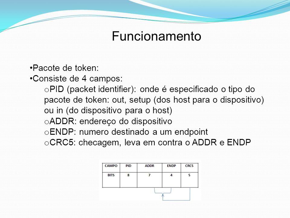 Funcionamento Pacote de dados: Consiste de 3 campos: o PID : onde é especificado o tipo do pacote de dados: DATA0, DATA1, DATA2 e MDATA, sendo os 2 últimos apenas para o hish speed o Campo data: dado em si (dados úteis) o CRC: checagem, que leva em conta apenas o campo Data