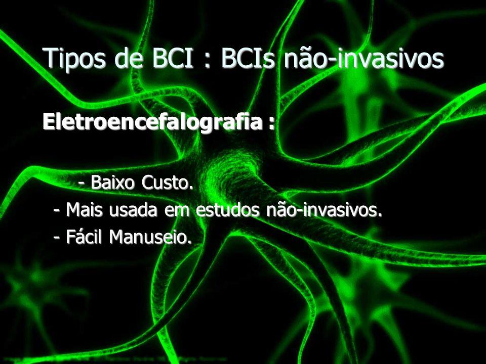 Tipos de BCI : BCIs não-invasivos Eletroencefalografia : Eletroencefalografia : - Baixo Custo. - Mais usada em estudos não-invasivos. - Fácil Manuseio