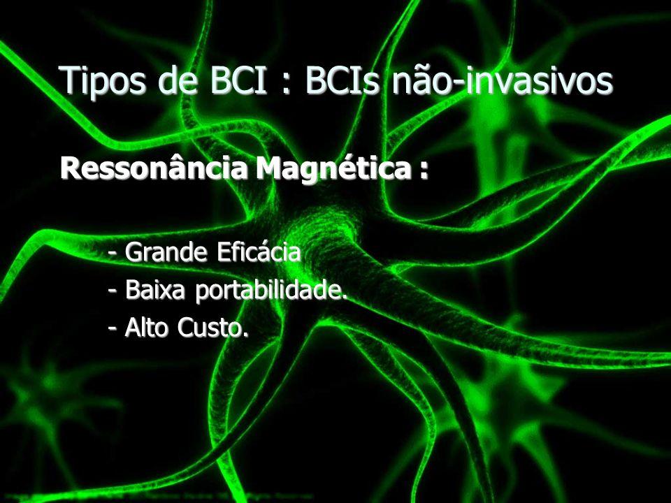 Tipos de BCI : BCIs não-invasivos Ressonância Magnética : Ressonância Magnética : - Grande Eficácia - Baixa portabilidade. - Alto Custo.