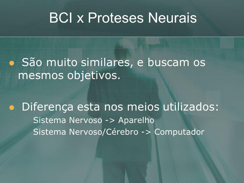 BCI x Proteses Neurais São muito similares, e buscam os mesmos objetivos. Diferença esta nos meios utilizados: Sistema Nervoso -> Aparelho Sistema Ner