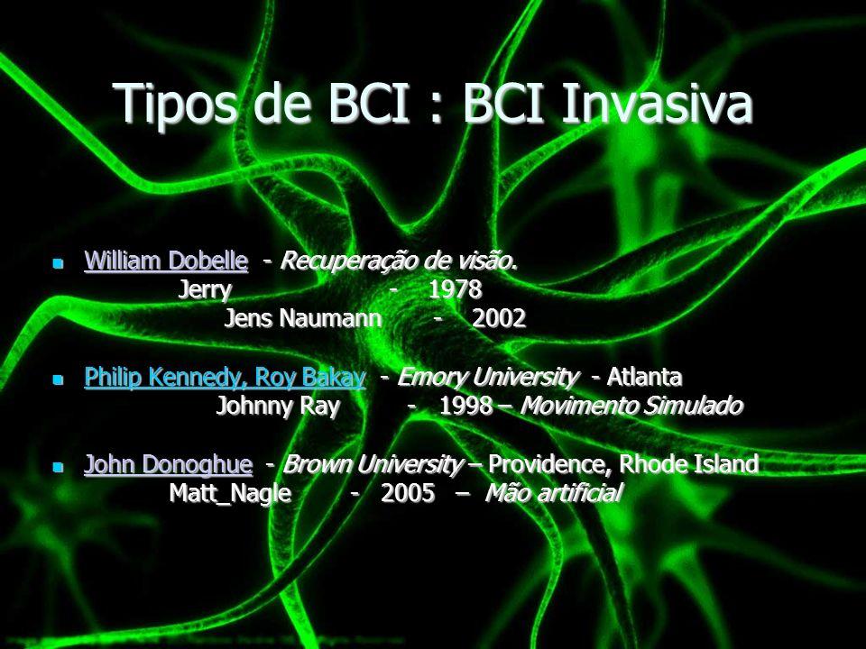 Tipos de BCI: BCIs Parcialmente Invasivos Implantados dentro do crânio mas fora do cérebro.