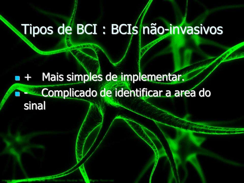 Tipos de BCI : BCIs não-invasivos + Mais simples de implementar. + Mais simples de implementar. - Complicado de identificar a area do sinal - Complica