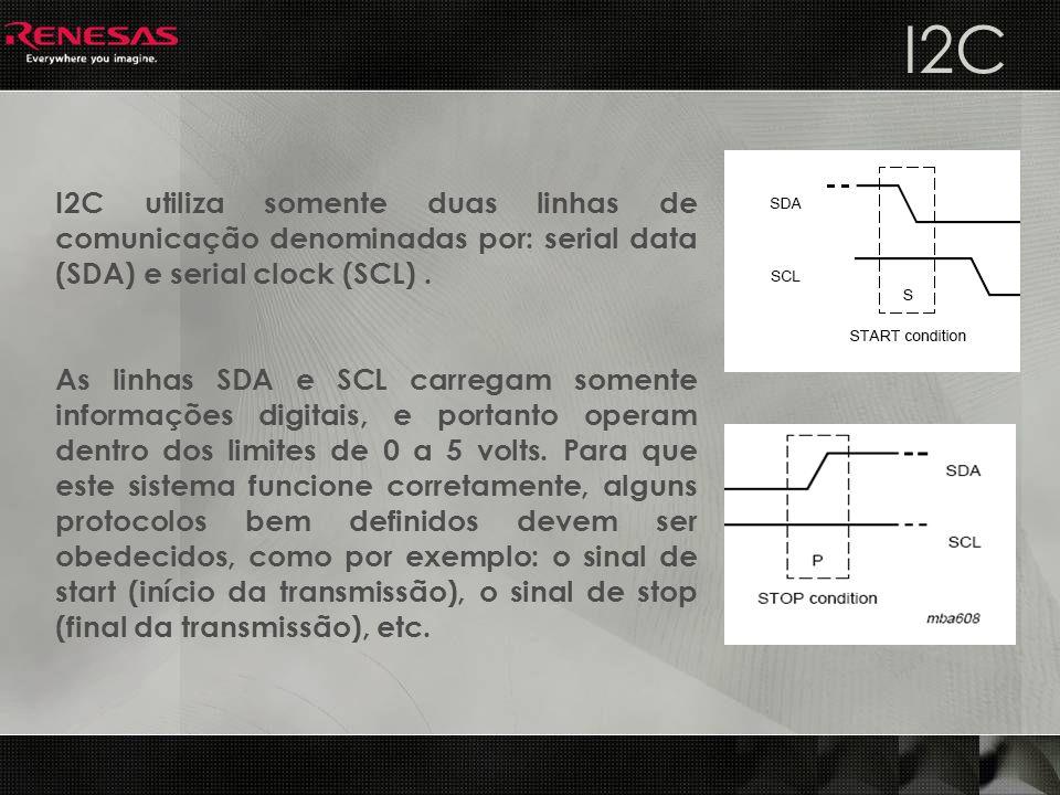 I2C utiliza somente duas linhas de comunicação denominadas por: serial data (SDA) e serial clock (SCL). As linhas SDA e SCL carregam somente informaçõ