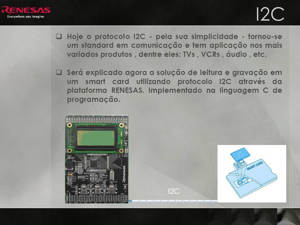 I2C Hoje o protocolo I2C - pela sua simplicidade - tornou-se um standard em comunicação e tem aplicação nos mais variados produtos, dentre eles: TVs,