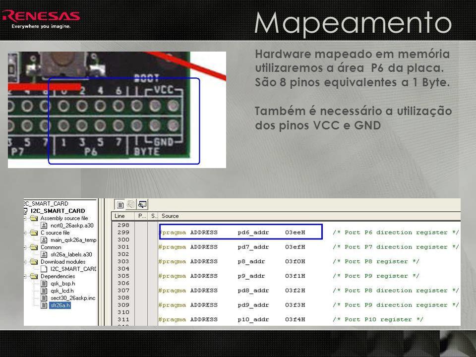 Mapeamento Hardware mapeado em memória utilizaremos a área P6 da placa. São 8 pinos equivalentes a 1 Byte. Também é necessário a utilização dos pinos