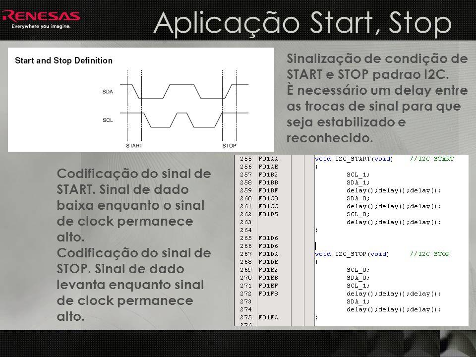 Aplicação Start, Stop Sinalização de condição de START e STOP padrao I2C. È necessário um delay entre as trocas de sinal para que seja estabilizado e