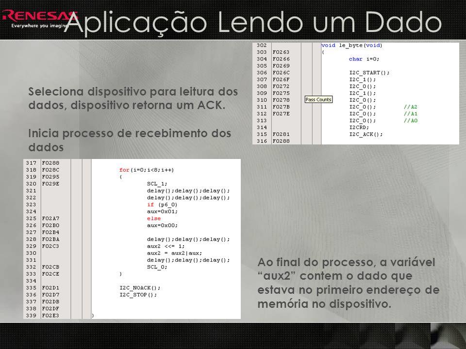 Aplicação Lendo um Dado Seleciona dispositivo para leitura dos dados, dispositivo retorna um ACK. Inicia processo de recebimento dos dados Ao final do
