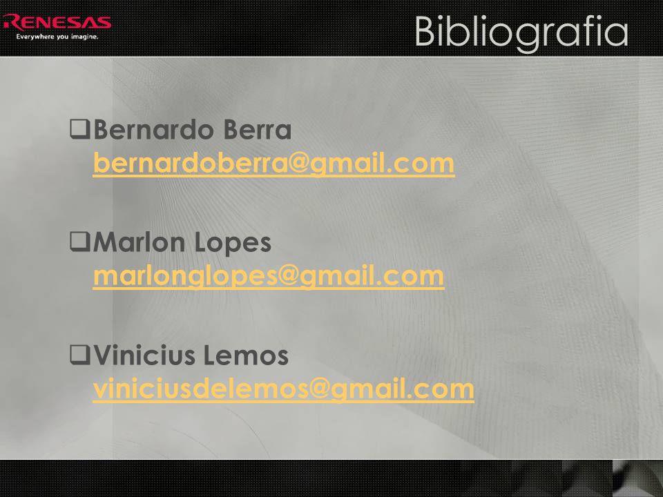 Bibliografia Bernardo Berra bernardoberra@gmail.com bernardoberra@gmail.com Marlon Lopes marlonglopes@gmail.com marlonglopes@gmail.com Vinicius Lemos