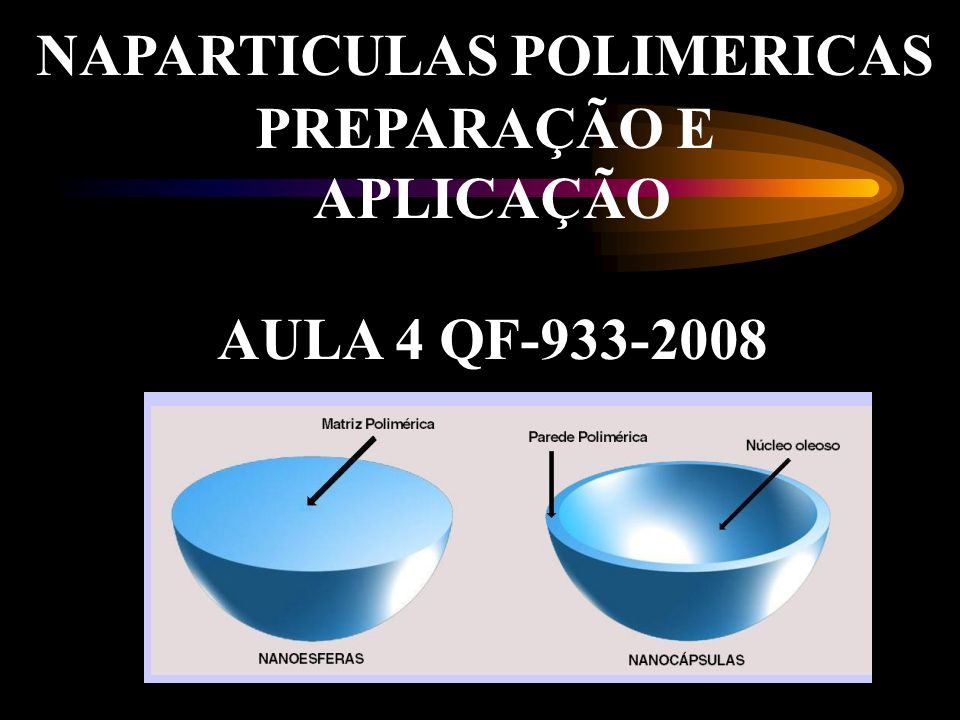 NAPARTICULAS POLIMERICAS PREPARAÇÃO E APLICAÇÃO AULA 4 QF-933-2008