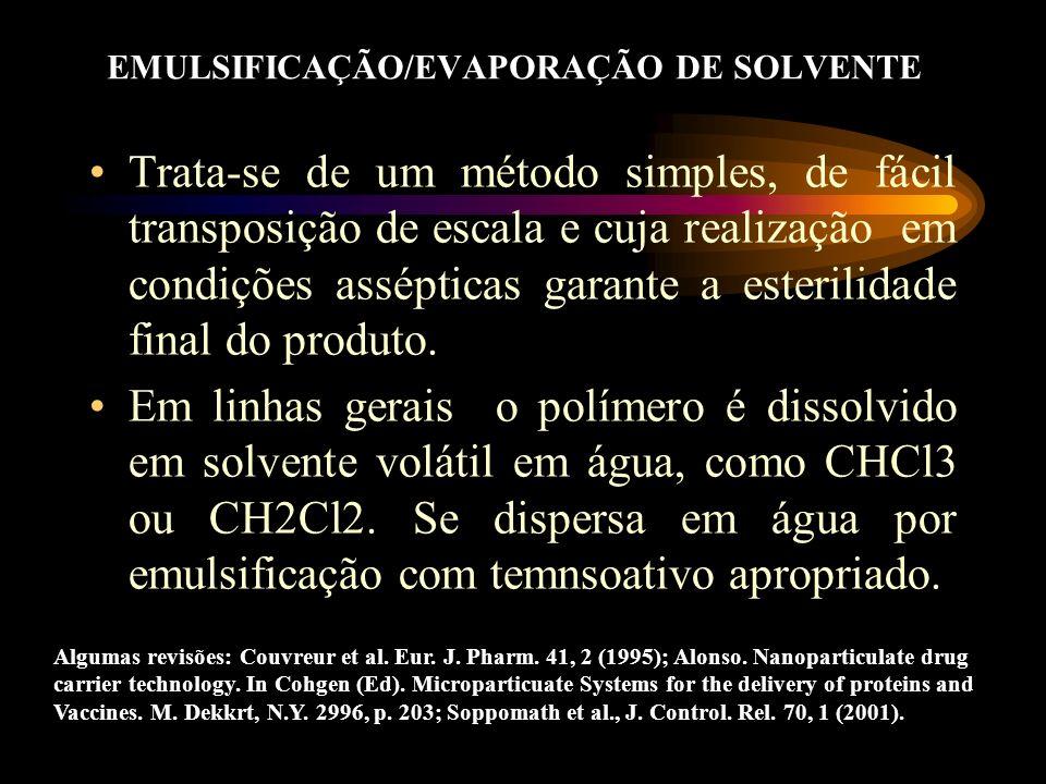 EMULSIFICAÇÃO/EVAPORAÇÃO DE SOLVENTE Trata-se de um método simples, de fácil transposição de escala e cuja realização em condições assépticas garante
