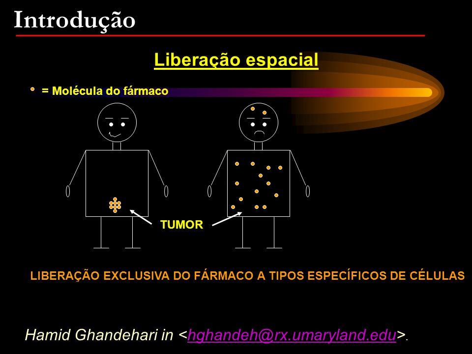 Introdução Liberação espacial TUMOR = Molécula do fármaco LIBERAÇÃO EXCLUSIVA DO FÁRMACO A TIPOS ESPECÍFICOS DE CÉLULAS Hamid Ghandehari in.hghandeh@rx.umaryland.edu
