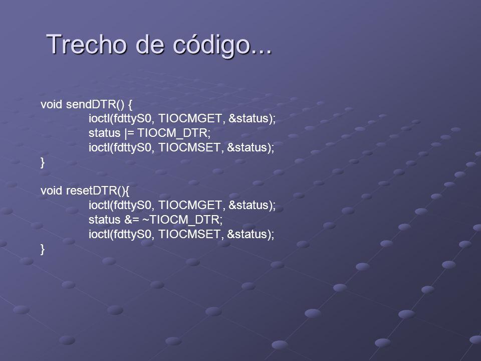 void sendDTR() { ioctl(fdttyS0, TIOCMGET, &status); status |= TIOCM_DTR; ioctl(fdttyS0, TIOCMSET, &status); } void resetDTR(){ ioctl(fdttyS0, TIOCMGET