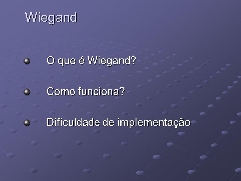 O que é Wiegand? O que é Wiegand? Como funciona? Como funciona? Dificuldade de implementação Dificuldade de implementaçãoWiegand