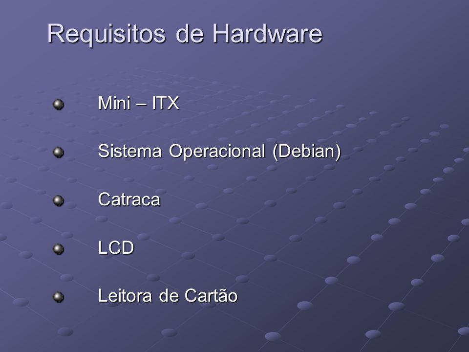 Requisitos de Hardware Mini – ITX Mini – ITX Sistema Operacional (Debian) Sistema Operacional (Debian) Catraca Catraca LCD LCD Leitora de Cartão Leito