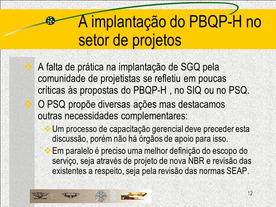 12 A implantação do PBQP-H no setor de projetos A falta de prática na implantação de SGQ pela comunidade de projetistas se refletiu em poucas críticas