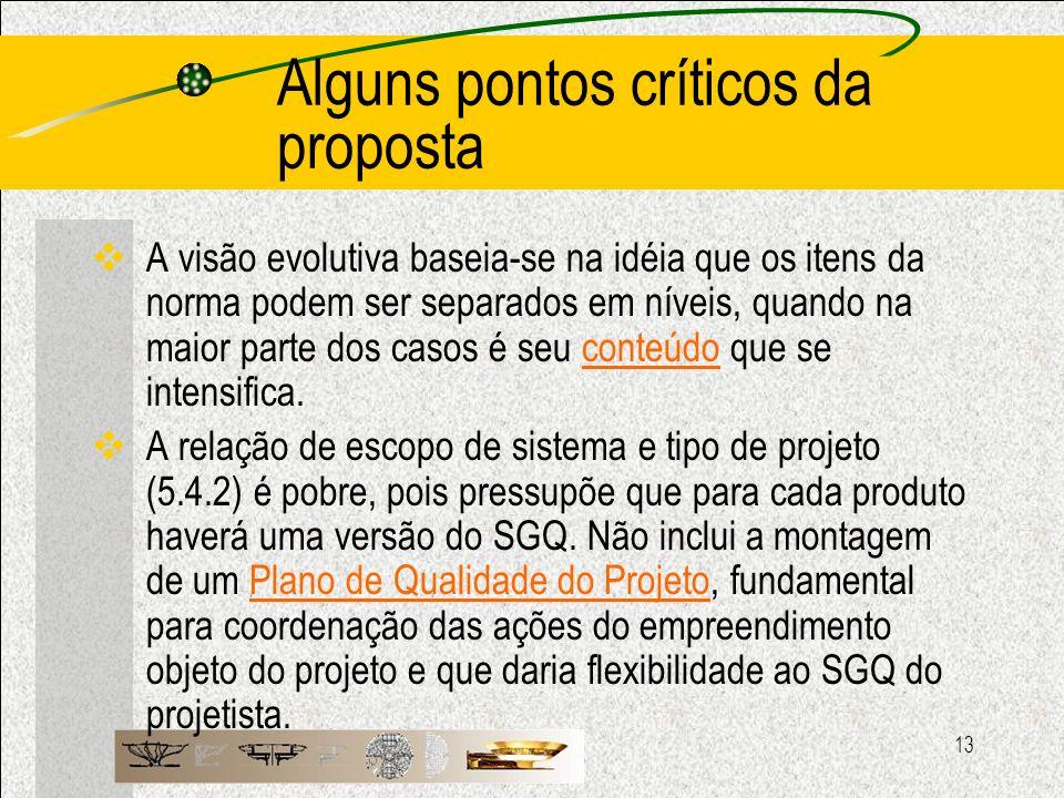 13 Alguns pontos críticos da proposta A visão evolutiva baseia-se na idéia que os itens da norma podem ser separados em níveis, quando na maior parte