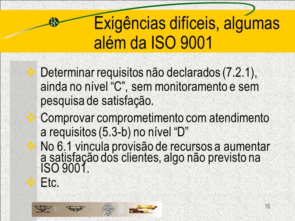 16 Exigências difíceis, algumas além da ISO 9001 Determinar requisitos não declarados (7.2.1), ainda no nível C, sem monitoramento e sem pesquisa de s