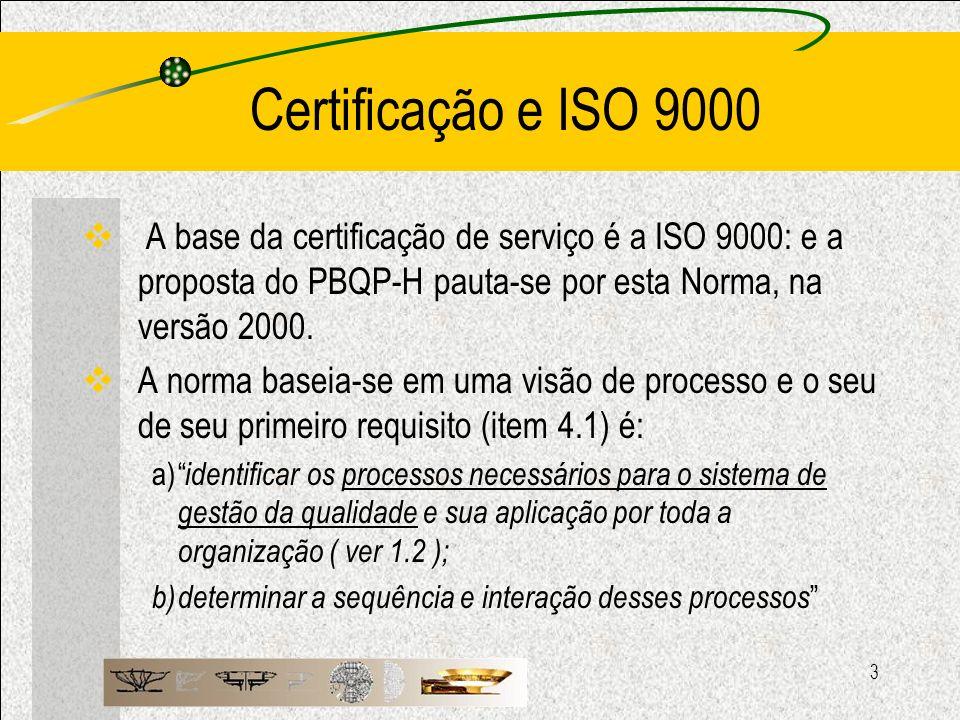 3 Certificação e ISO 9000 A base da certificação de serviço é a ISO 9000: e a proposta do PBQP-H pauta-se por esta Norma, na versão 2000. A norma base