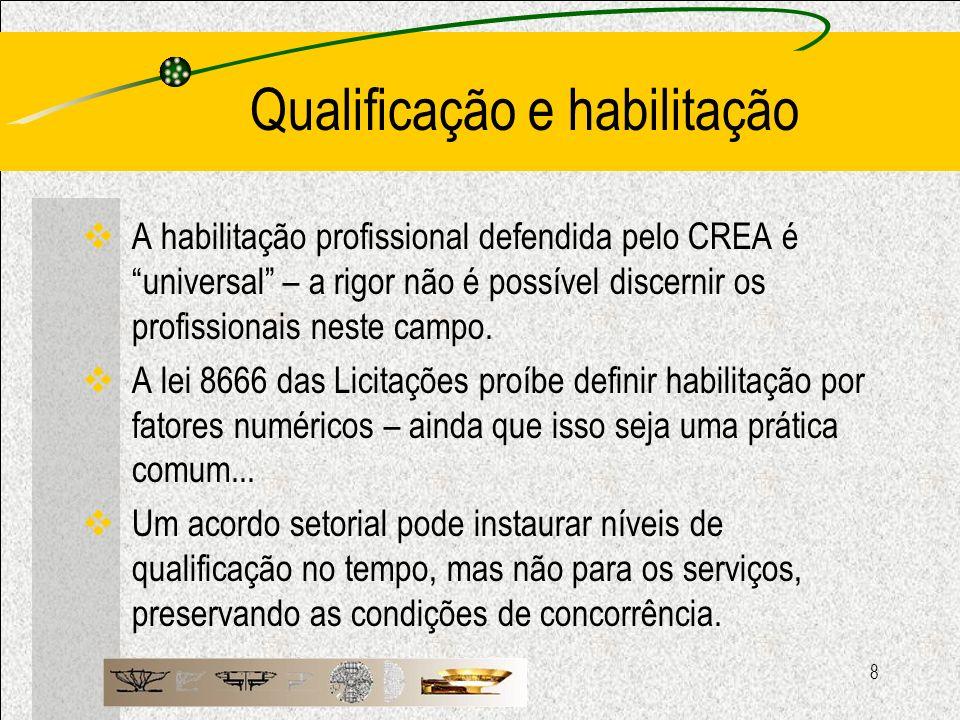 8 Qualificação e habilitação A habilitação profissional defendida pelo CREA é universal – a rigor não é possível discernir os profissionais neste camp